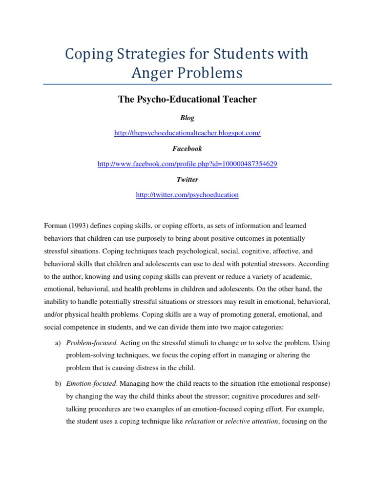 Coping Strategies For Students With Anger Problems Coping