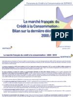 Le marché français du crédit à la Consommation 2000-2010 - CA Consumer Finance - Janvier 2011