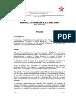 Análise da bancada do PT na ALESP do PLC 6/2005