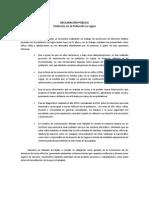 Declaración Publica sobre intervencion el la Población La Legua