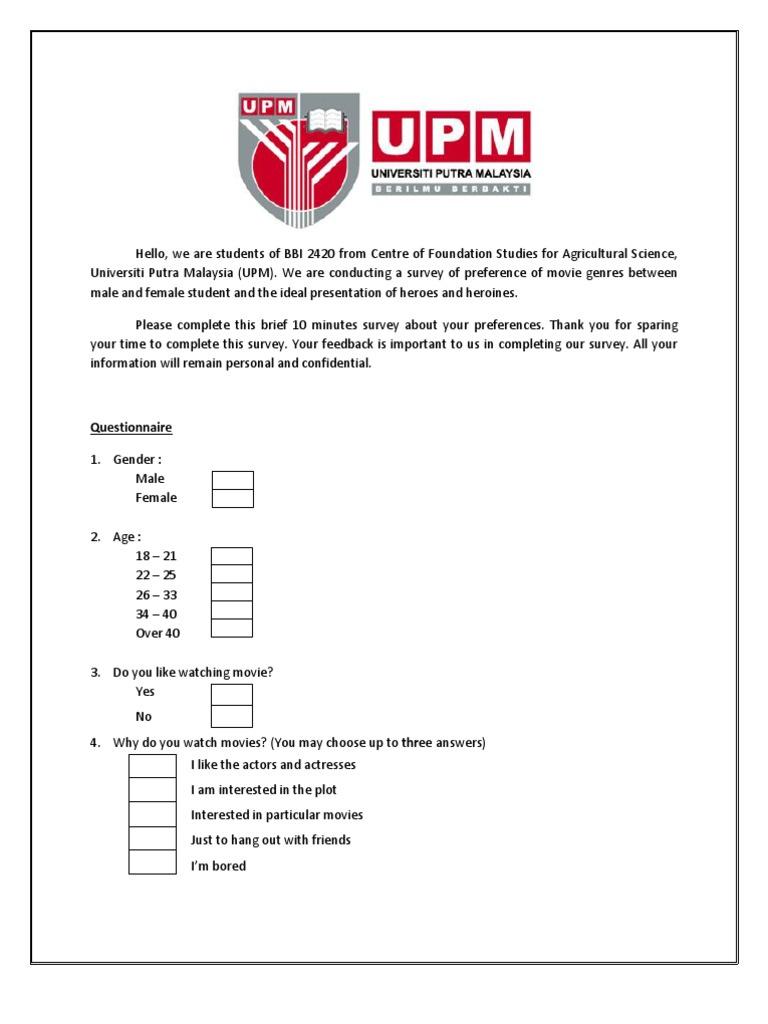student preferences survey