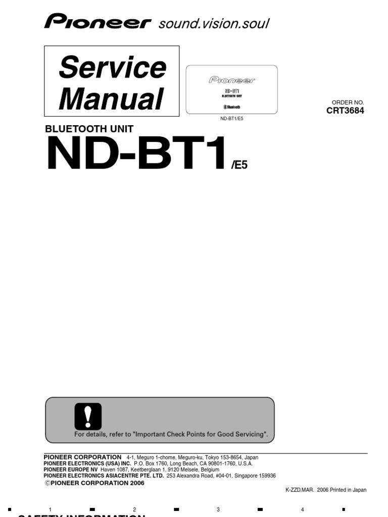 Pioneer Nd Bt1 E5 Bluetooth Unit Service Manual Crt3684 Avic Z2 Wiring Diagram Electrical Connector