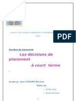 décisions de placements à CT