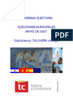 TC Talavera - Programa Electoral Municipales 2007