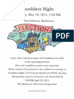 IBEW 332 Election Candidate Night Flyer