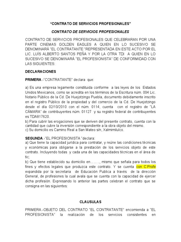 CONTRATO DE PRSTACION DE SERVICIOS PROFESIONALES