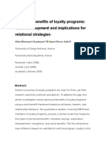 Perceived benefits of loyalty programs