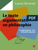 Louis Brunet-Le Texte Argumentatif en Philosophie-Jericho