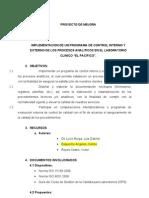"""IMPLEMENTACION DE UN PROGRAMA DE CONTROL INTERNO Y EXTERNO DE LOS PROCESOS ANALITICOS EN EL LABORATORIO CLINICO """"EL PACIFICO""""."""