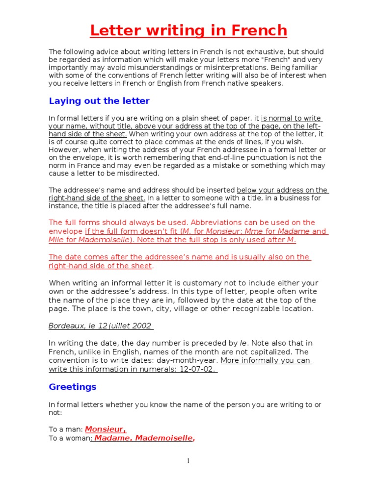 How to write a letter in french gallery letter format formal sample proper formal letter format write letter in french with french writing letters in french communication expocarfo expocarfo Choice Image