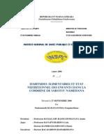 Habitudes alimentaires et état nutritionnel des enfants dans la commune de Sabotsy Namehana (RAMANANTSOA Fanjaharitiana - 2006)
