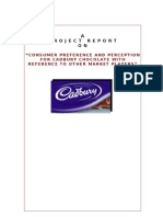 CONSUMER PREFERENCE AND PERCEPTION FOR CADBURY CHOCOLATE WITH REFERENCE TO OTHER MARKET PLAYERS