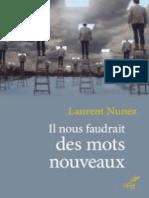 Il Nous Faudrait Des Mots Nouveaux (L. Nunez, Ed. Du Cerf, 2018)