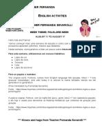 August 11 to August 17 - Teacher Fernanda