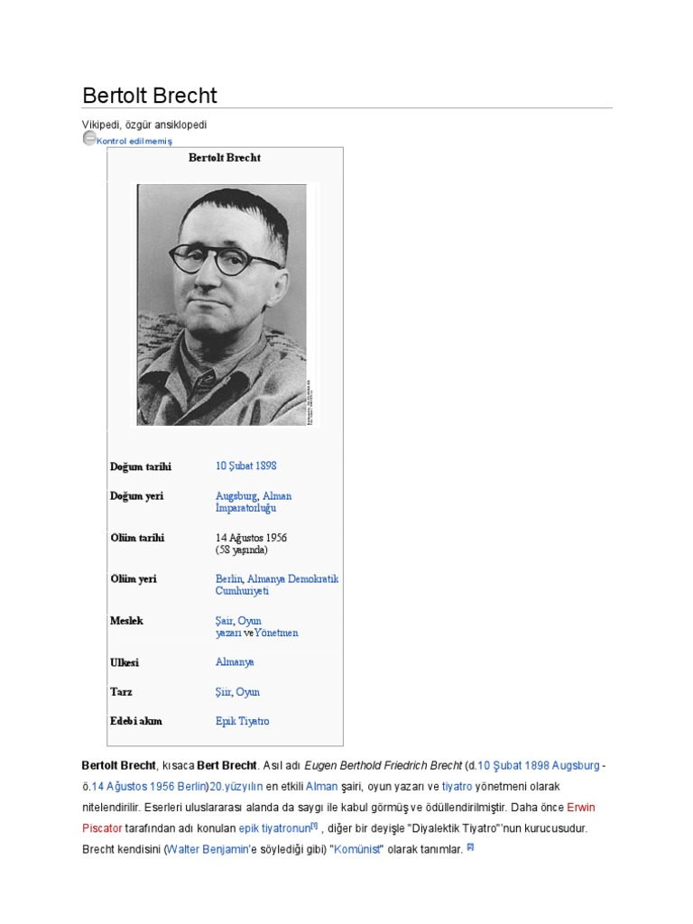 bertolt brecht essay example Bertolt brecht: bertolt brecht, german poet, playwright, and theatrical reformer whose epic theatre departed from the conventions of theatrical illusion and developed the drama as a social and ideological forum for leftist causes.