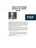 Critique of Design Argument- Hume