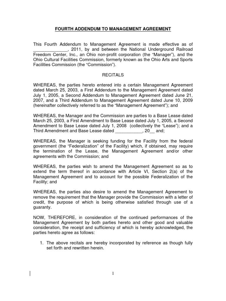 22 Nurfc Fourth Addendum To Management Agreement Municipal Bond