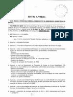Ordem do dia para a Assembleia Municipal de 28 de Abril
