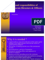 Role and Responsibilities of Corporate Directors & Officers