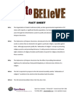 Free to Believe Fact Sheet, Open Doors