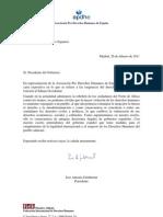 Carta de la Asociación Pro Derechos Humanos de España (APDHE) al presidente del Gobierno español sobre las exigencias del derecho internacional en relación al Sáhara Occidental