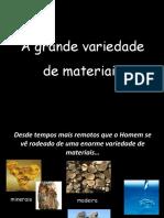 Classificação de materiais quanto à origem.