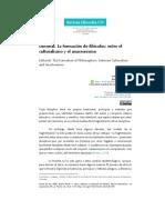 Editorial Formacion Filosofos Entre Culturalismo Anacronismo Revista Filosofia UIS 2021