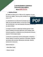 TECNICA QUIRURGICA COLESISTECTOMIA ABIERTA.