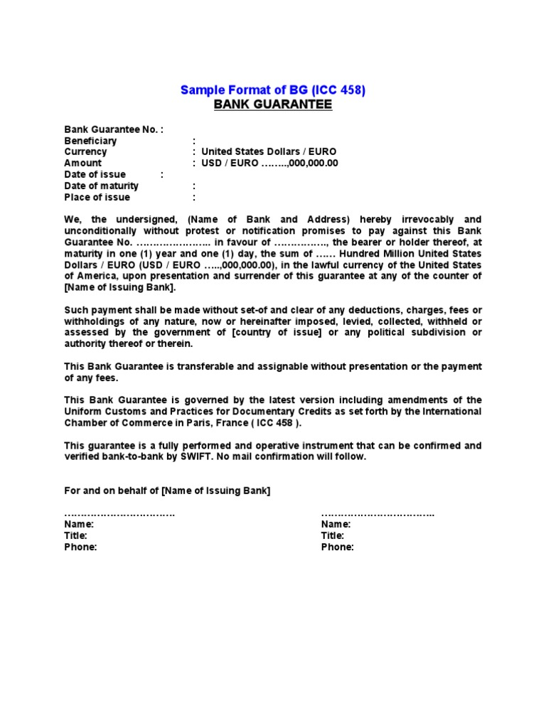 Letter Format For Bank Guarantee.  SBLC and BG FORMAT INSTRUMENT Letter Of Credit Finance