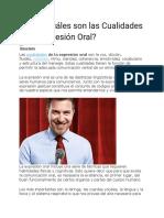 Qué y Cuáles son las Cualidades de la Expresión Oral