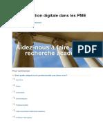 Transformation digitale dans les PME - enquête