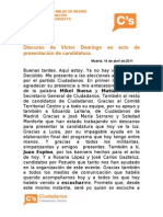 Discurso de Víctor Domingo presentación candidatura