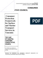 Tenga, R.W. 'Consumer Protection Framework for Surface & Marine Transport in Tanzania - SUMATRA' June, 2008