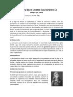 articulo de reflexion - LA REALIDAD DE LAS MUJERES EN EL MUNDO DE LA ARQUITECTURA