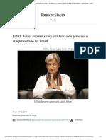 Judith Butler escreve sobre sua teoria de gênero e o ataque sofrido no Brasil - 19_11_2017 - Ilustríssima - Folha
