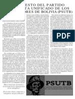 MANIFIESTO DEL PARTIDO SOCIALISTA UNIFICADO DE LOS TRABAJADORES DE BOLIVIA (PSUTB)