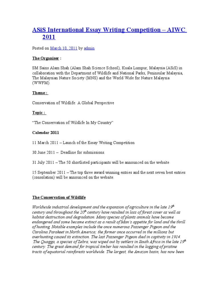 aiwc international essay competition 2013