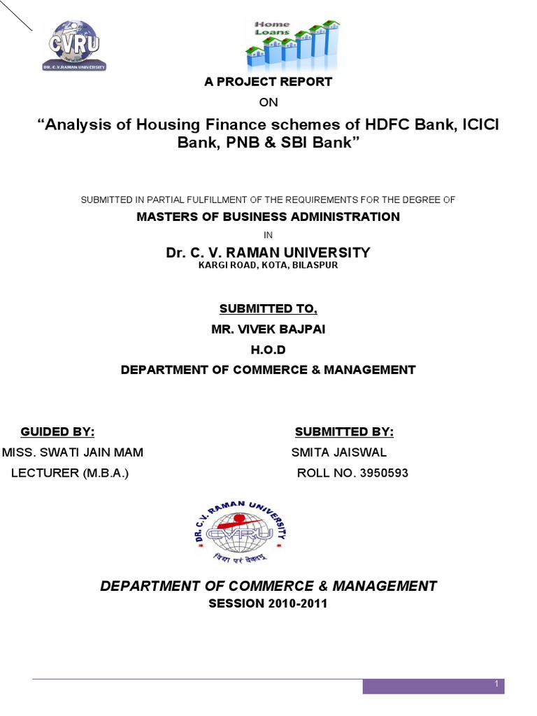 Analysis of Housing Finance schemes of HDFC Bank, ICICI Bank, PNB ...