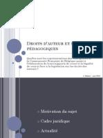 Présentation/défense - Droit d'auteur et supports pédagogiques - Quelles sont les représentations des enseignants de la Communauté Française de Belgique quant à l'élaboration de leurs supports de cours et la légalité de ceux-ci face à la législation sur les droits des auteurs ?