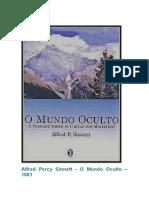 Alfred Percy Sinnett  O Mundo Oculto 1881