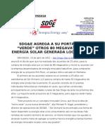 SDGE Agrega otros 80 Megavatios de energía solar generada localmente