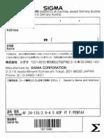 Sigma 24-135 Lenses