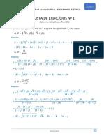 Gabarito Lista 01 de exercícios - Números Complexos