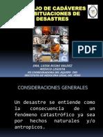 Manejo de Cadáveres en situaciones de desastre Doctora  Luisa Rojas Valdez EX COORDINADORA DEL EQUIPO IVD  DEL INSTITUTO DE MEDICINA LEGAL DEL PERÚ