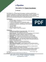 Kana Pipeline Project Coordinator Job Description
