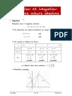 01 Fiche Sur Equation Et Inequation Avec Des Valeurs Absolues