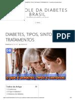 DIABETES, TIPOS, SINTOMAS E TRATAMENTOS - CONTROLE DA DIABETES BRASIL