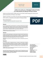 ANDERSON 2019 Médicos pelo Brasil e as políticas de saúde para a Estratégia Saúde da Família de 1994 a 2019 caminhos e descaminhos da Atenção Primária no Brasil
