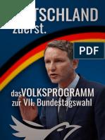 DEUTSCHLAND Zuerst - Volksprogramm Zur VII. Bundestagswahl