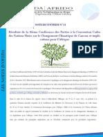Résultats de la 16ème Conférence des Parties à la Convention Cadre des Nations Unies sur le Changement Climatique de Cancun et implications pour l'Afrique